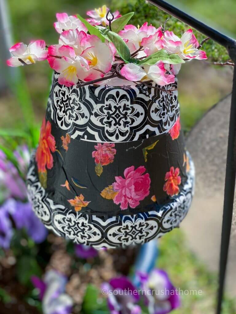 clay pot windchime with flowers