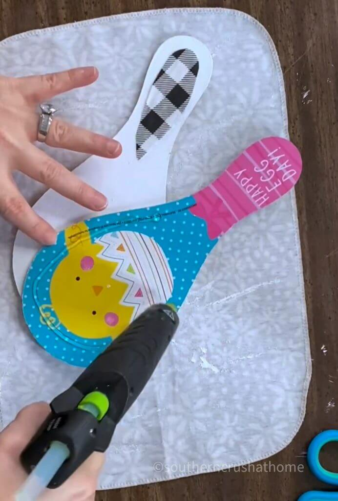 using hot glue on dollar tree paddle ball