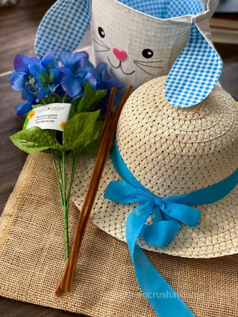supplies for Dollar Tree sun hat bunny wreath