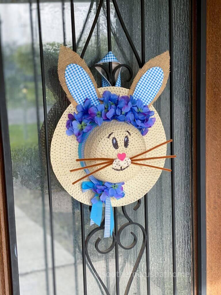 sun hat bunny wreath on front door