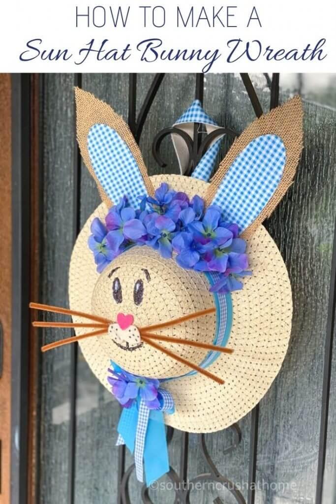 bunny sun hat wreath on front door