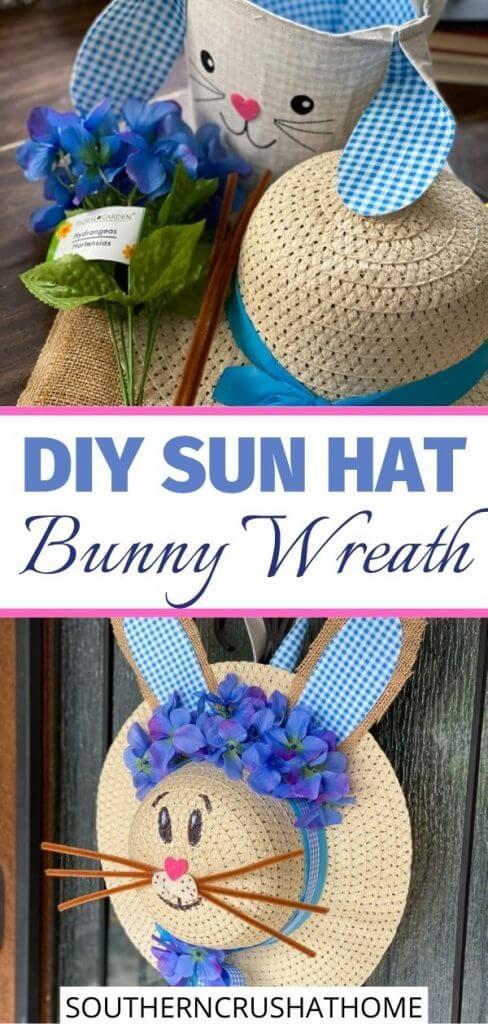 diy dollar tree sun hat bunny wreath on front door