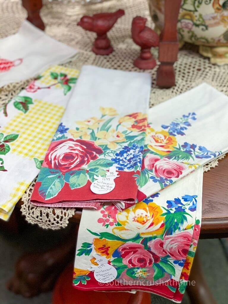 floral flour sack tea towels