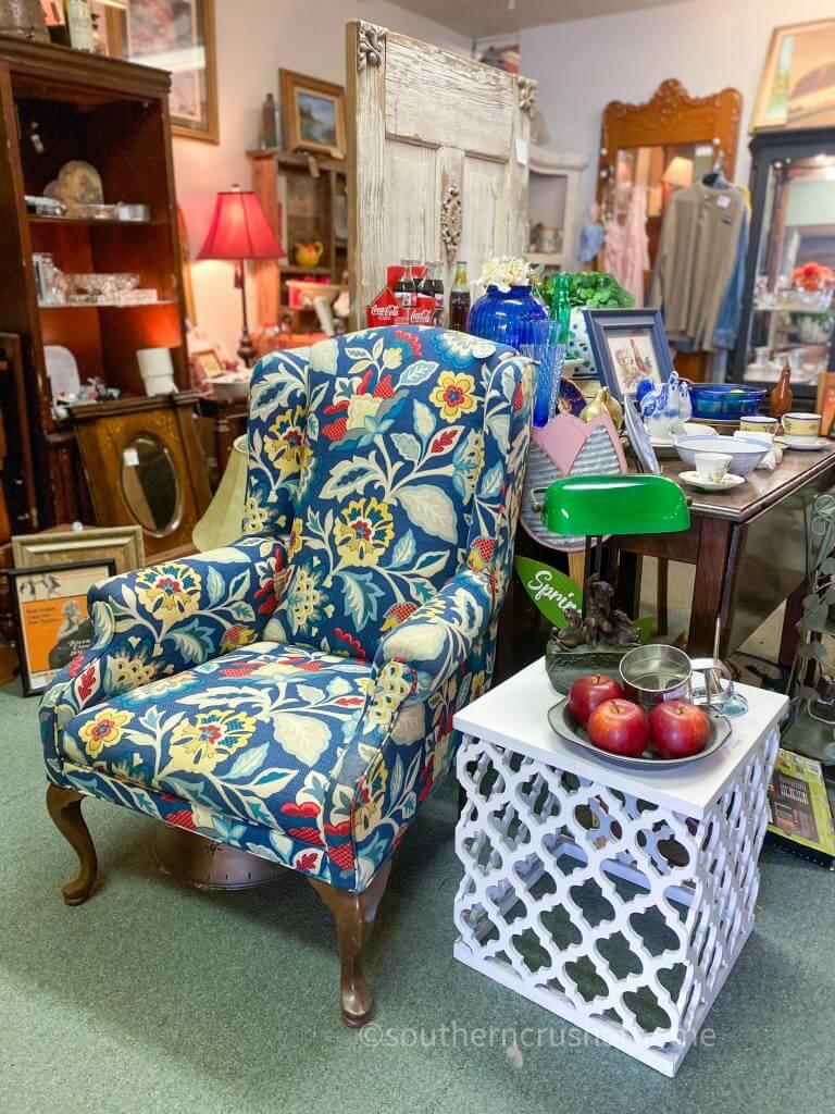 vintage blue floral wingback chair