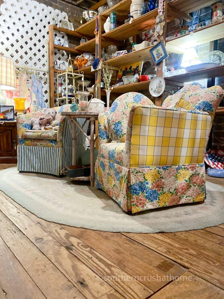 vintage chairs in antique store attic
