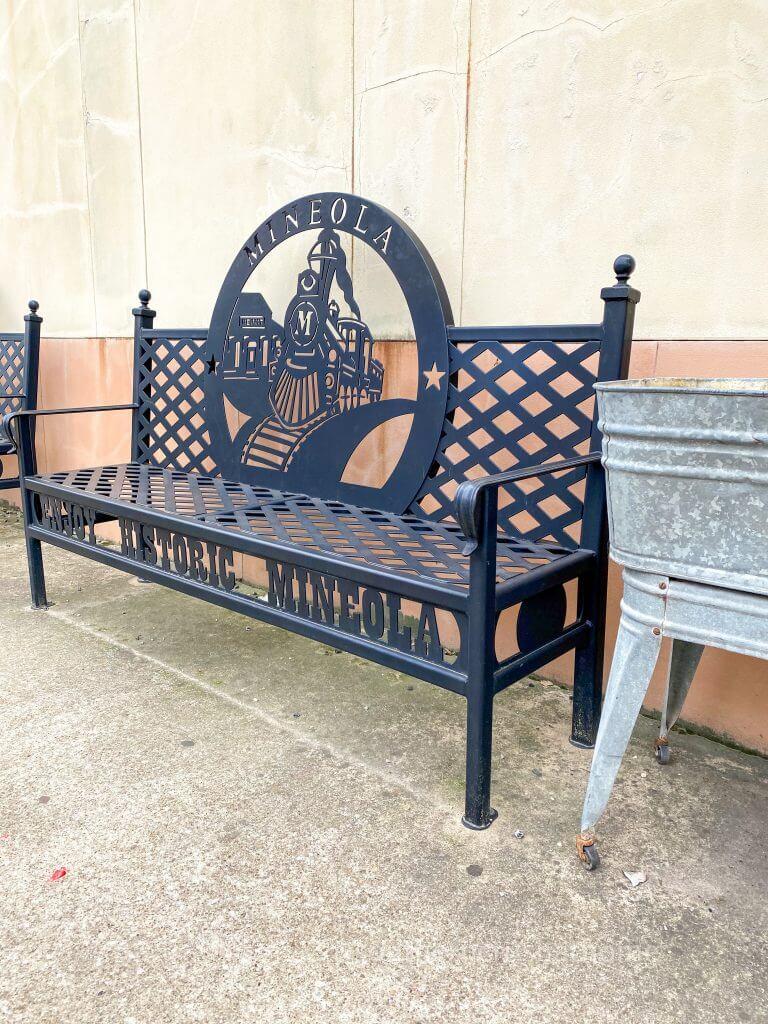 black metal bench in mineola tx