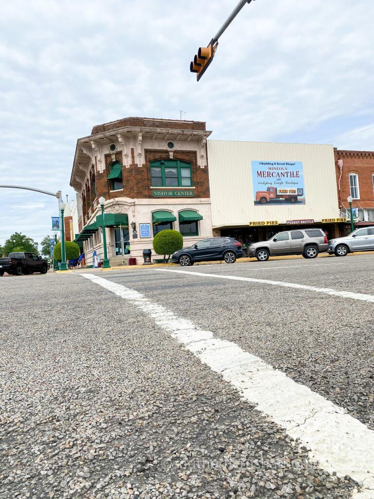 four way stop with mineola mercantile