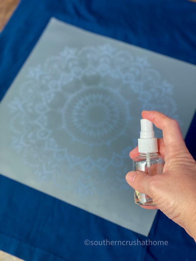 Reverse Tie Dye T-shirt Pillowcase squirt bottle of bleach