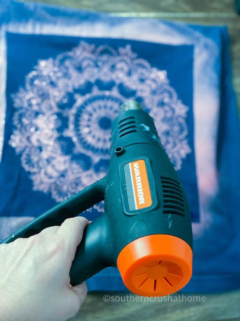 Reverse Tie Dye T-shirt Pillowcase heat gun drying