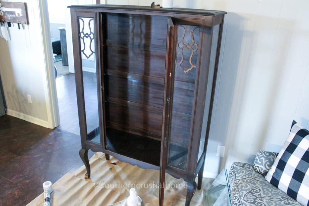vintage cabinet before makeover