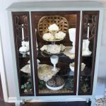 finished vintage cabinet makeover with gray chalk paint