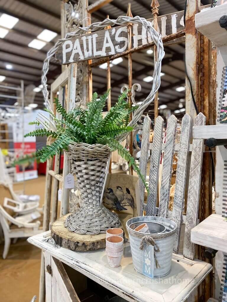 wicker basket with faux fern
