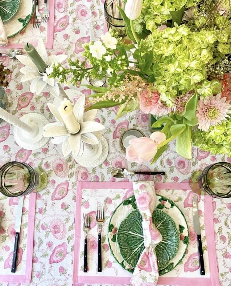 beautiful springtime tablescape with pinks and greens