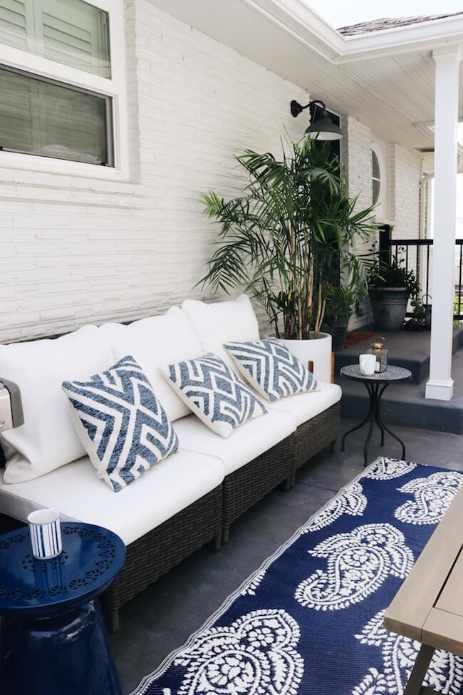 blue and white outdoor patio