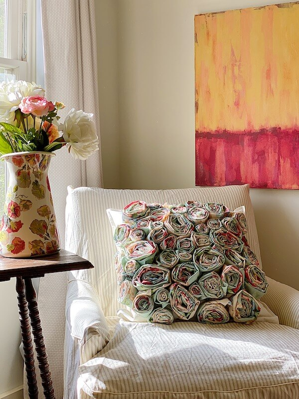 diy pillow craft on white chair