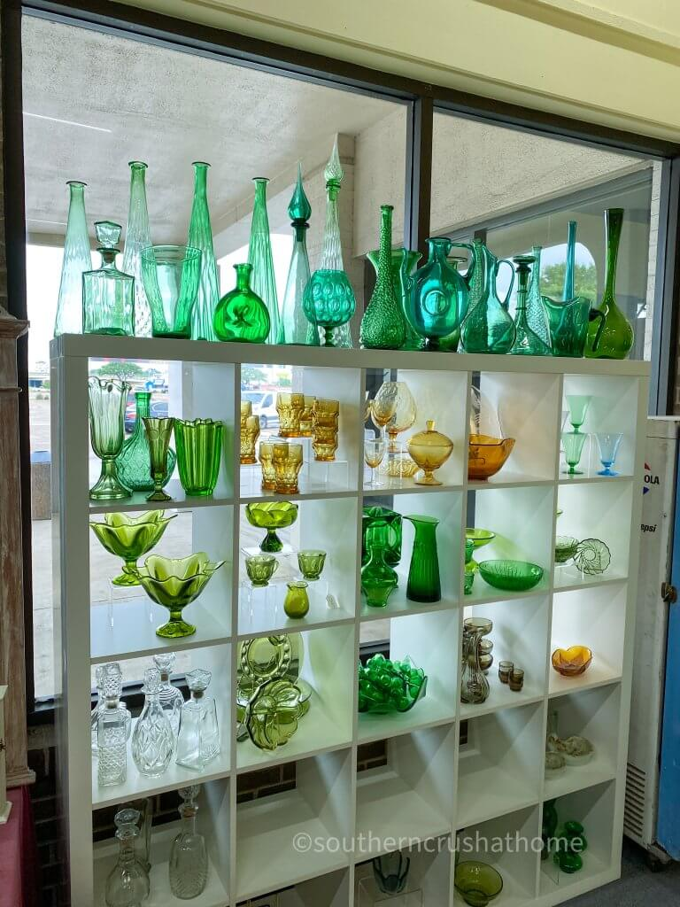 vintage green glass collection display