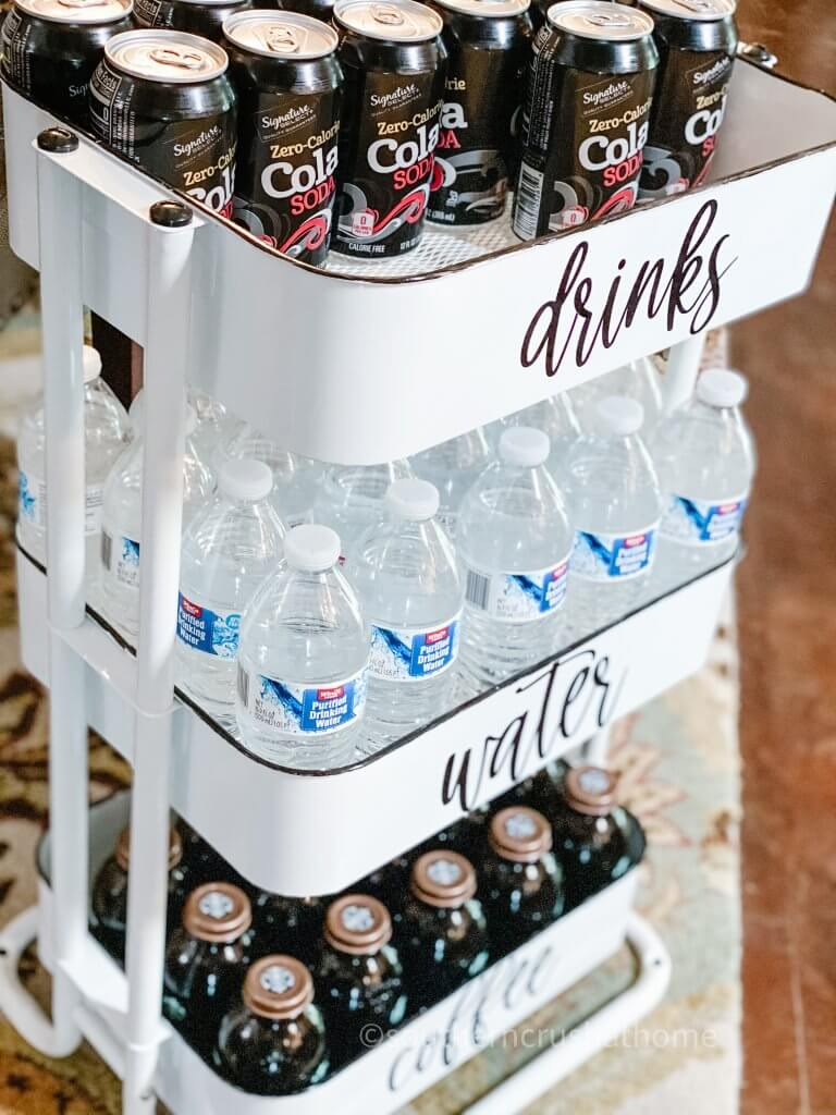 finished beverage cart with drinks