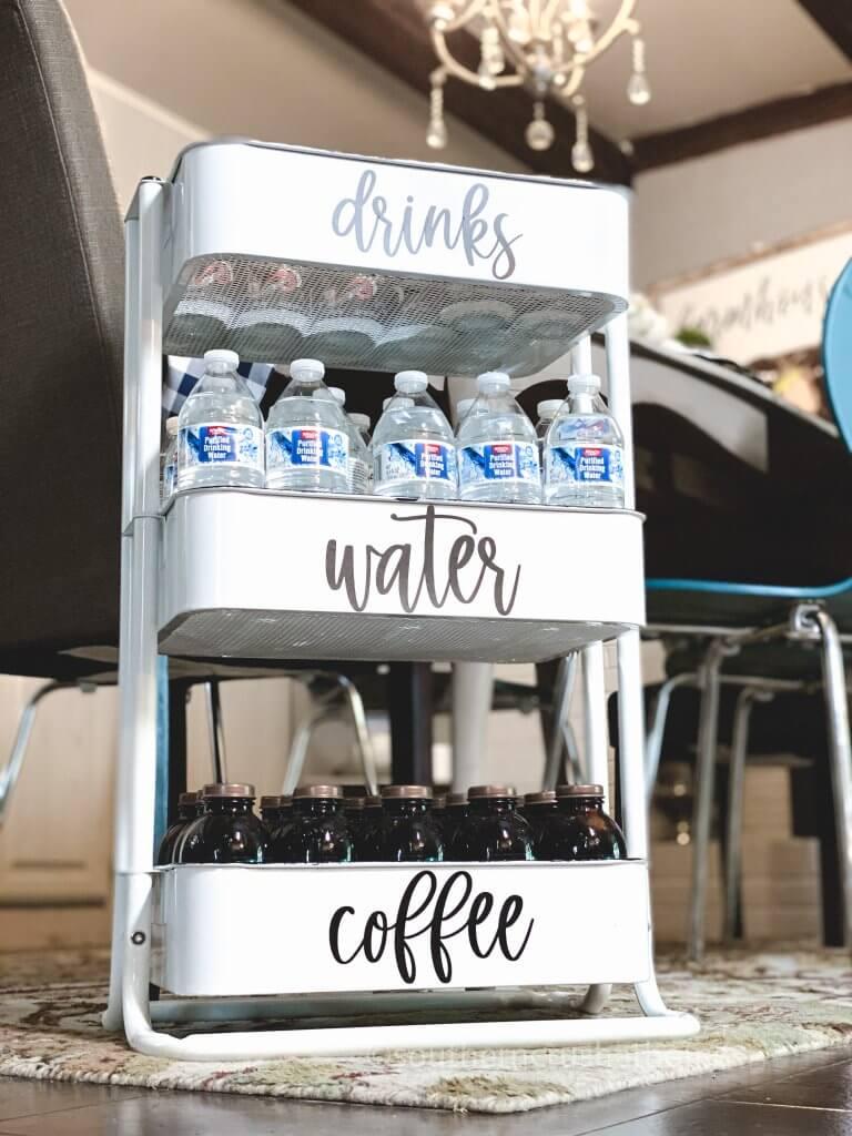 finished beverage cart showing 3 shelves