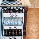 table top on farmhouse beverage cart diy