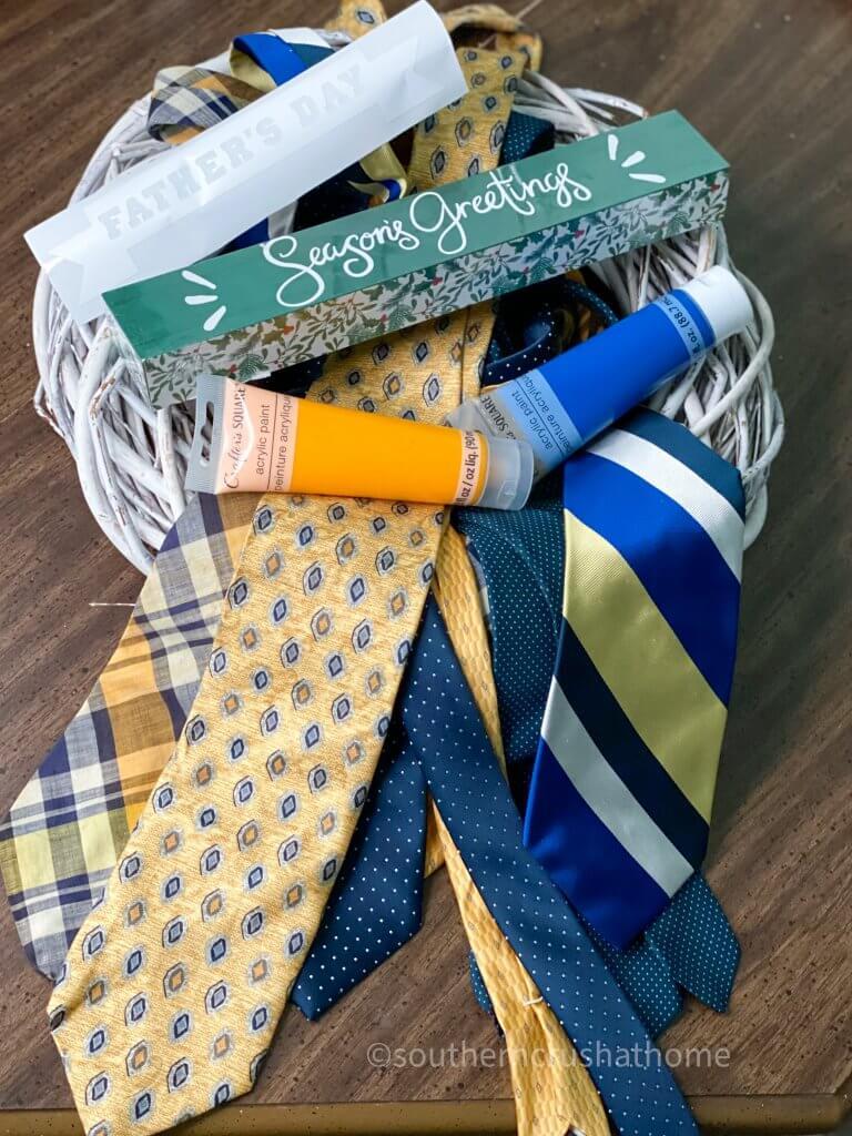 DIY Necktie Wreath supplies