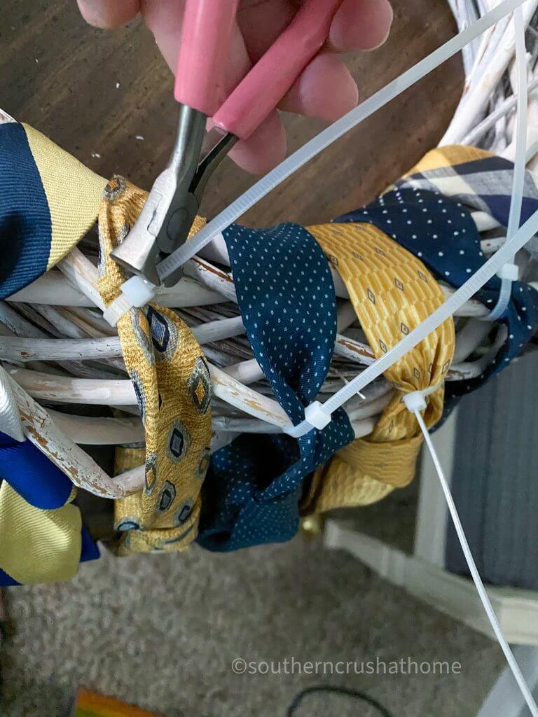 close up of zip ties and neckties