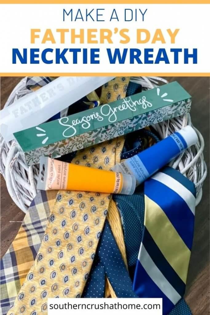 diy necktie wreath supplies pin image