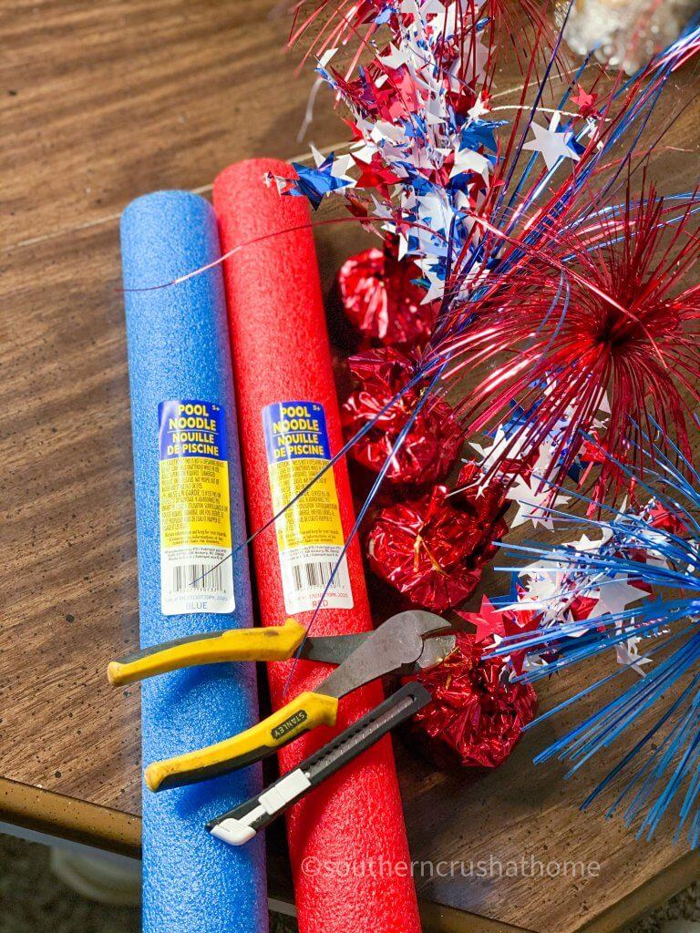 dollar tree pool noodle firecracker supplies