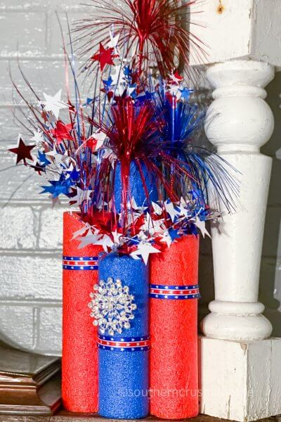 dollar tree red and blue pool noodle firecrackers