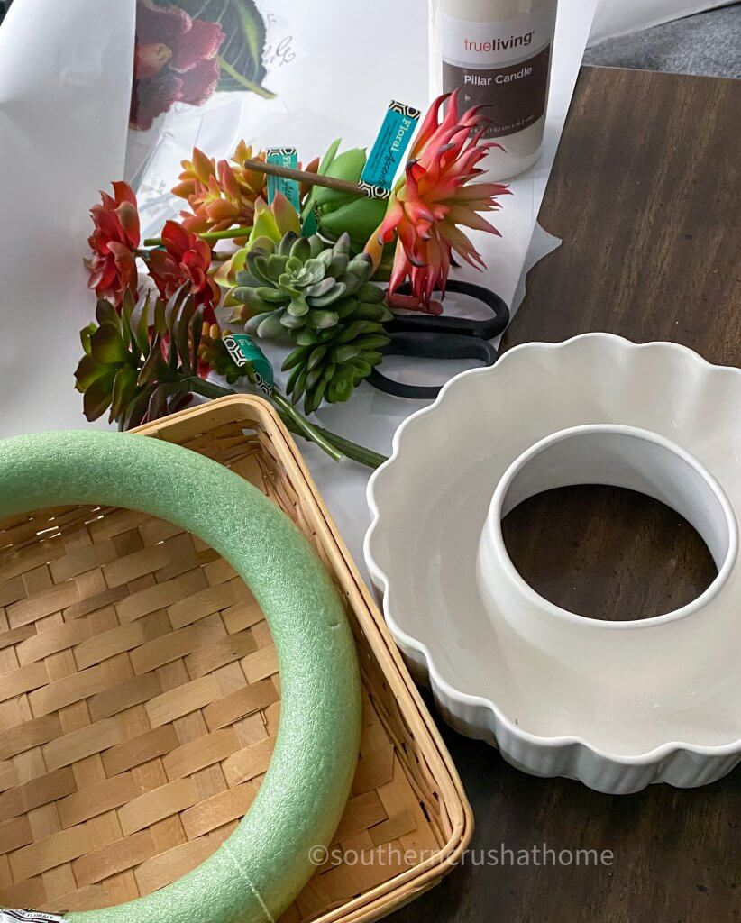 faux succulent candle ring supplies