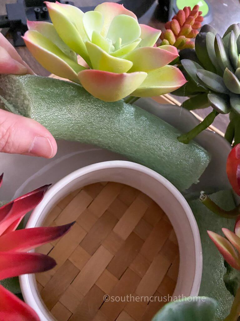 making candle ring for succulents
