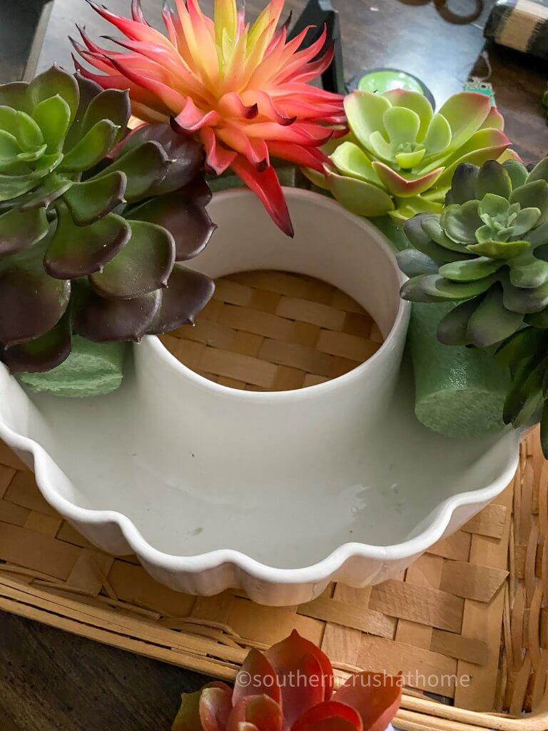 adding succulents to mold