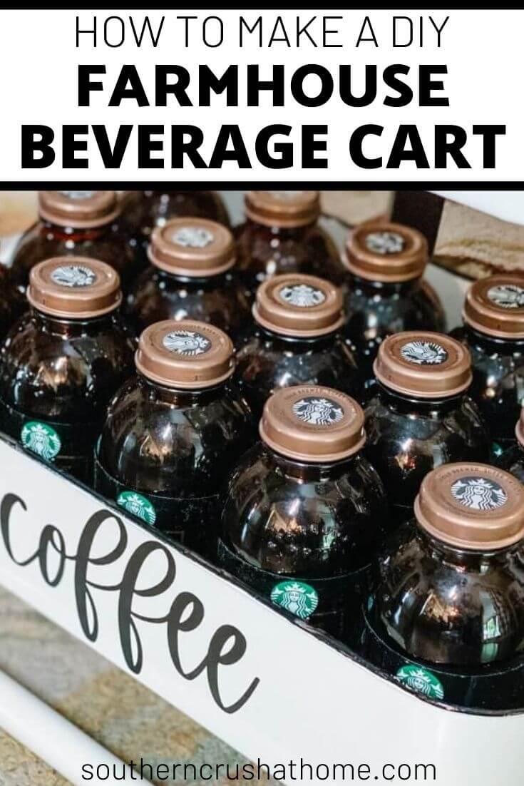 diy farmhouse beverage cart pin image