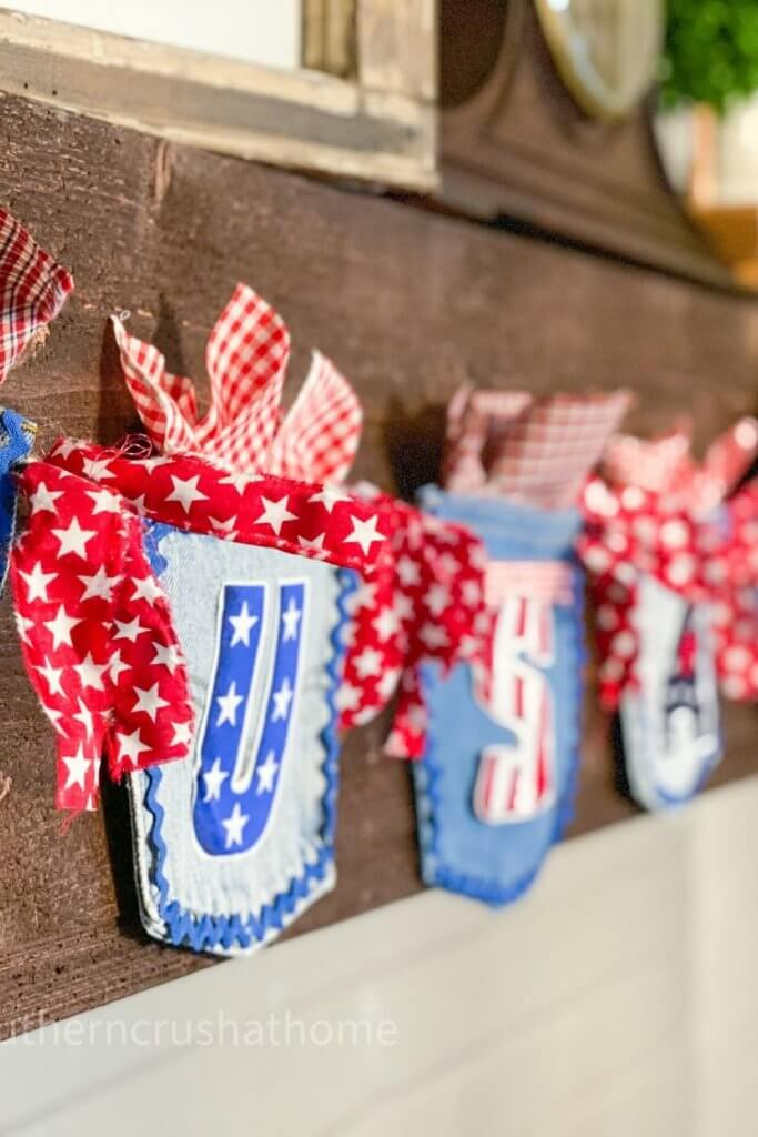 jean pocket patriotic banner with red white and blue usa