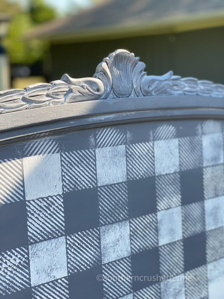 close up of Repurposed Headboard Garden Sign with Buffalo Plaid Stencil