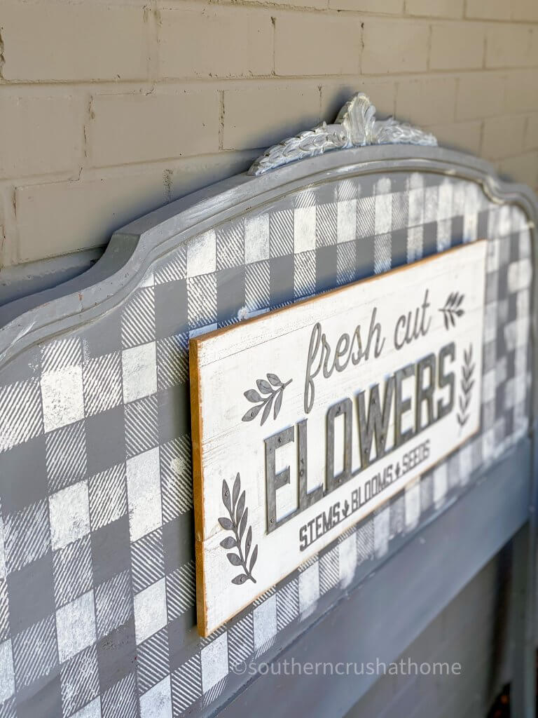 Repurposed Headboard Garden Sign with fresh cut flowers sign