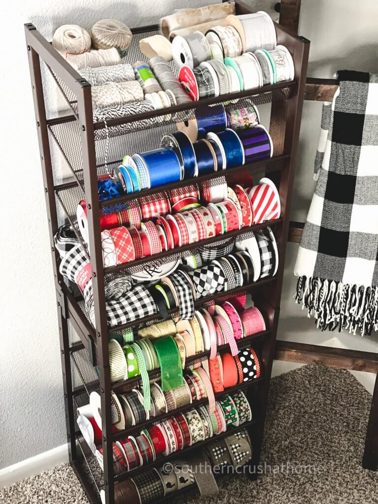 completed ribbon storage rack filled with ribbon