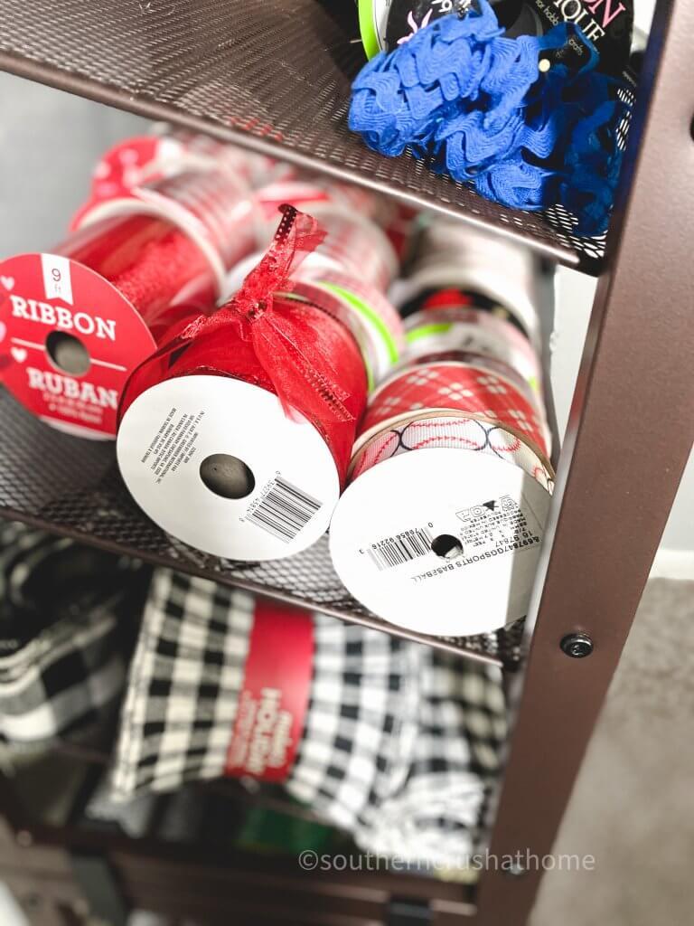 side of ribbon storage rack