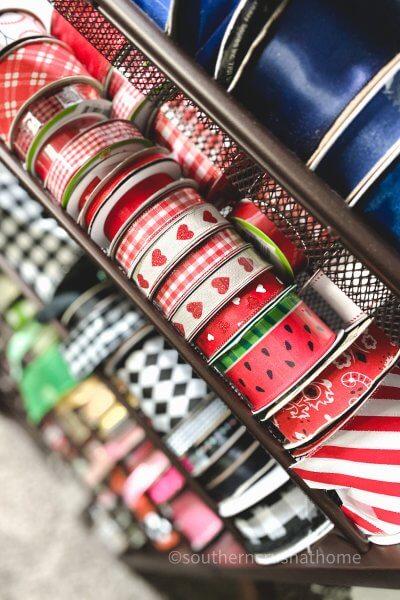 ribbon storage rack with ribbon