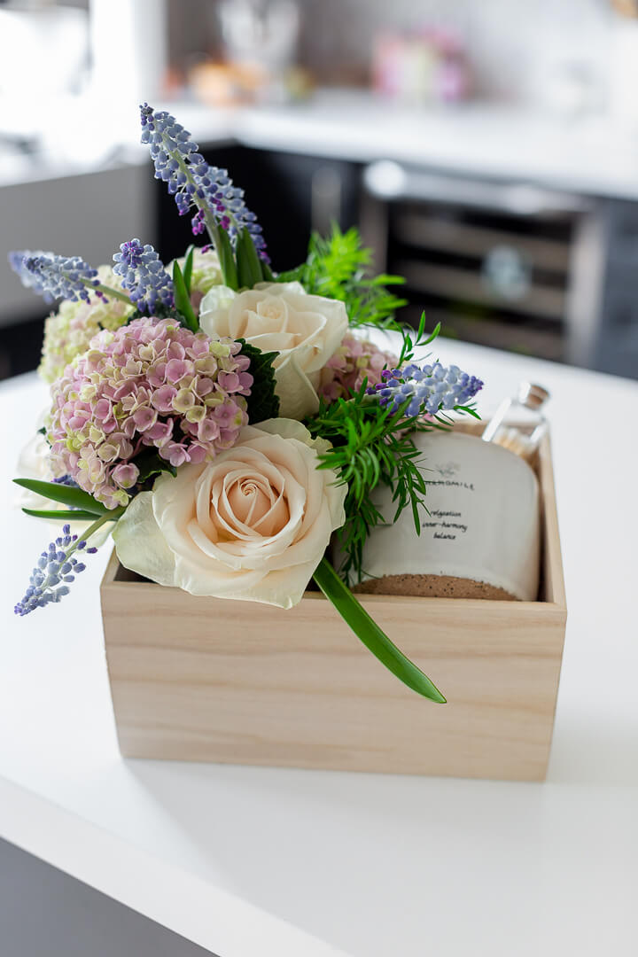mother's day gift idea in wood box with fresh flowers