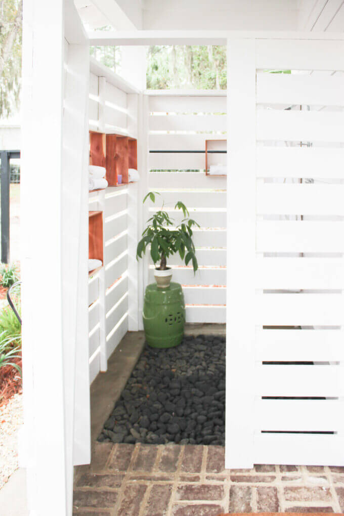 diy outdoor boxes for shower