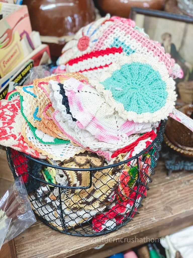 vintage crocheted potholders