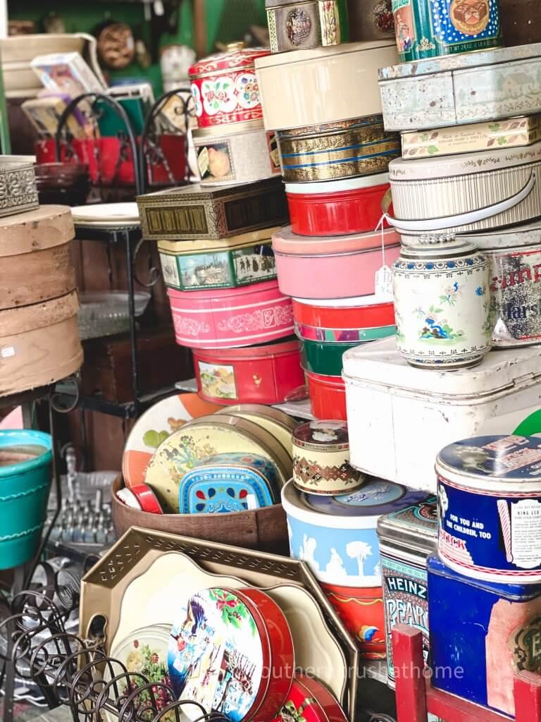 assorted colorful vintage tins
