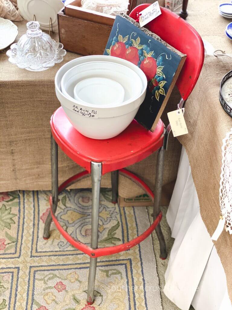 vintage red step stool