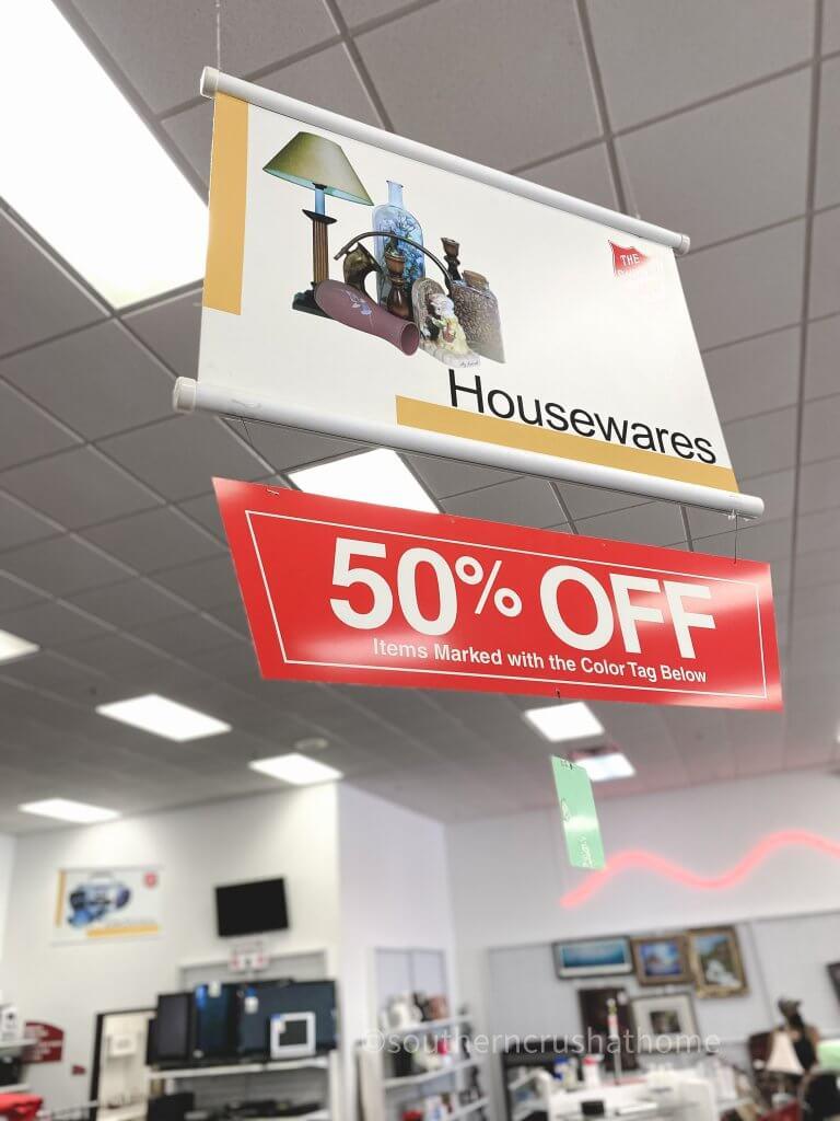housewares sign