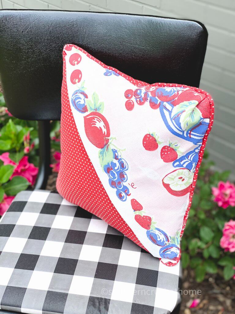 side view of thrift store pillow makeover