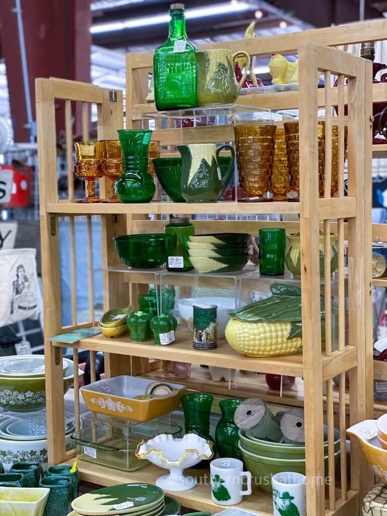 vintage green glass display