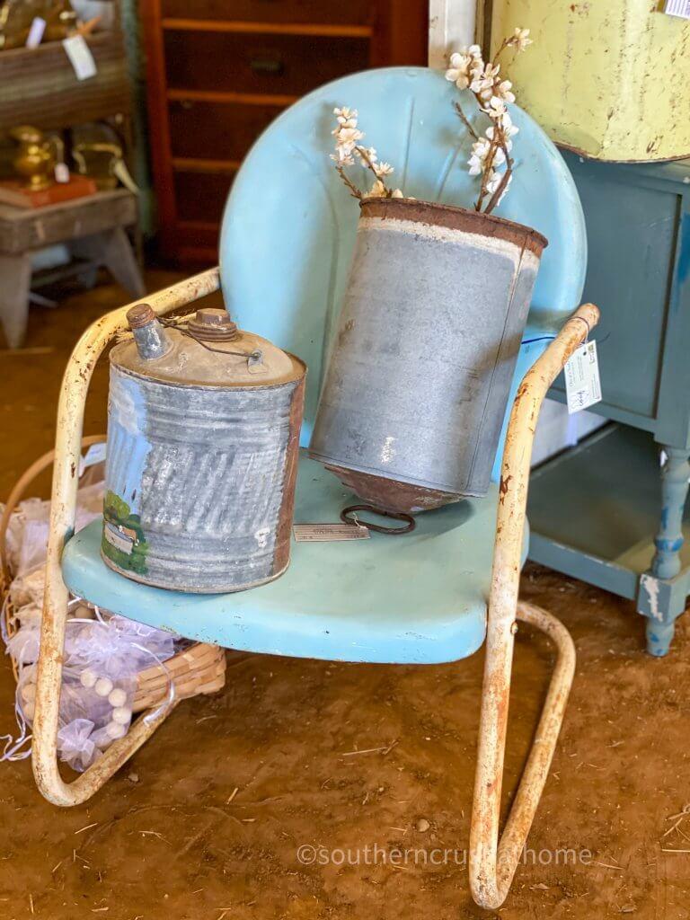 blue vintage metal chair