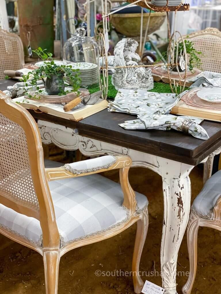 buffalo check chair chippy dining tablescape