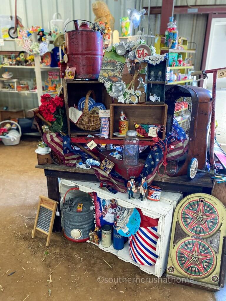 patriotic vintage display red white and blue