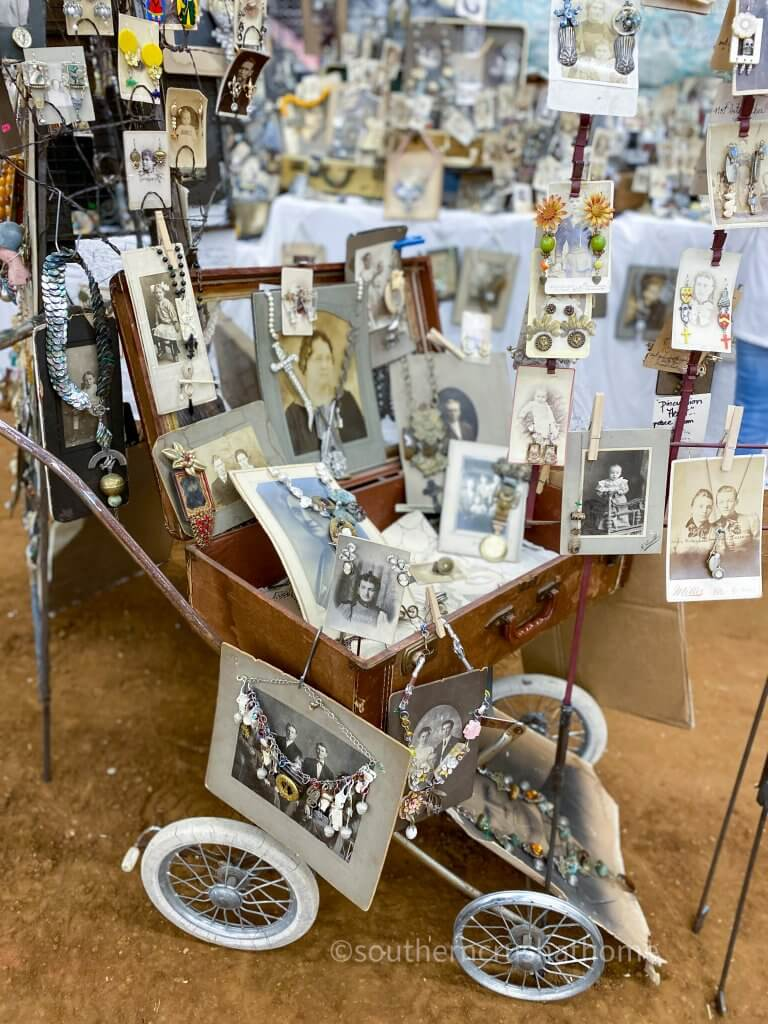 vintage photographs displaying handmade jewelry in wagon